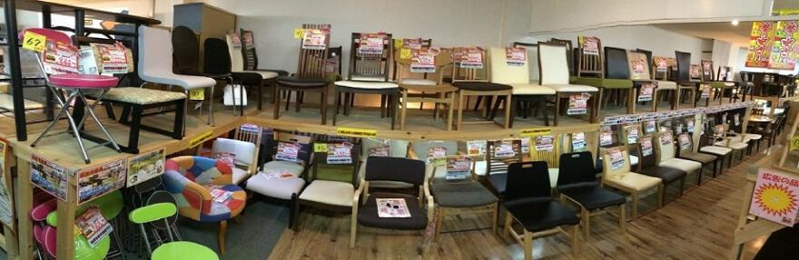 単品椅子売場(1点ものから4脚以上揃うものまであります)