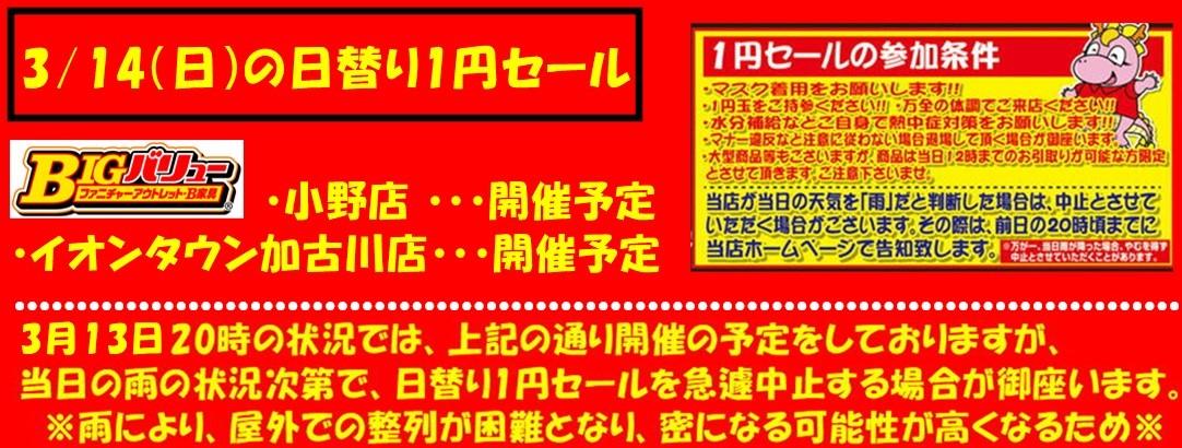 3/14(日)日替り両店開催予定!